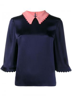 Атласная блузка Demi Roksanda. Цвет: синий