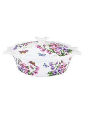 Блюдо для запекания Душистый горошек Elan Gallery. Цвет: розовый, зеленый, фиолетовый