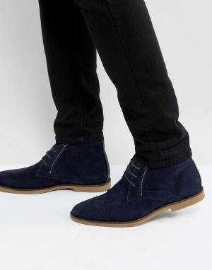 Burton Menswear Темно-синие дезерты. Цвет: темно-синий