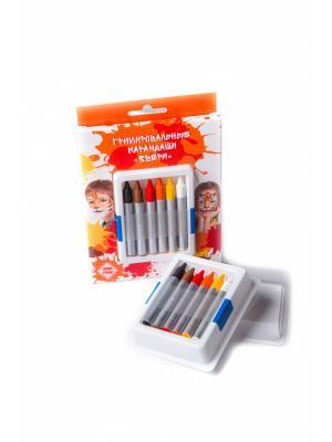 Карандаши гримировальные цветные ФТК. Цвет: коричневый, красный, оранжевый