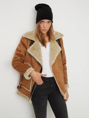 Дубленка Vero moda. Цвет: коричневый