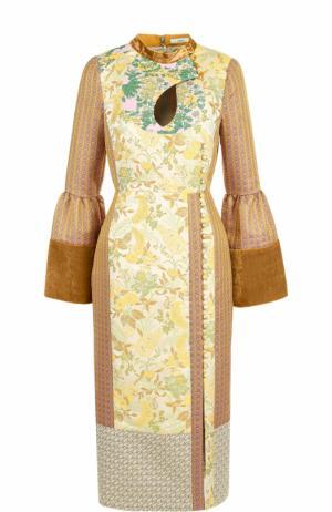 Платье-миди с завышенной талией и воротником-стойкой Erdem. Цвет: бежевый