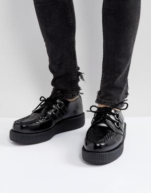 T.U.K Блестящие криперы на платформе со шнуровкой. Цвет: черный