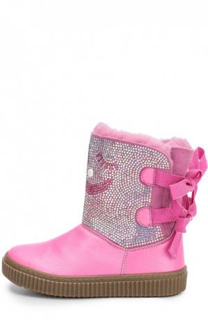 Кожаные сапоги со стразами Missouri. Цвет: розовый