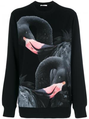 Толстовка с принтом фламинго Givenchy. Цвет: чёрный