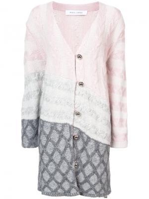 Пальто-кардиган с панельным дизайном Prabal Gurung. Цвет: розовый и фиолетовый