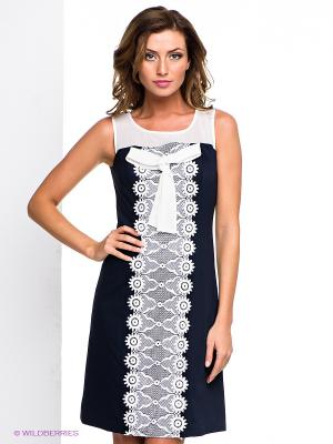 Платье LIFE TIME. Цвет: темно-синий, белый