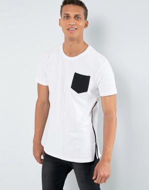 Loyalty & Faith Длинная футболка с карманом и молнией and. Цвет: белый