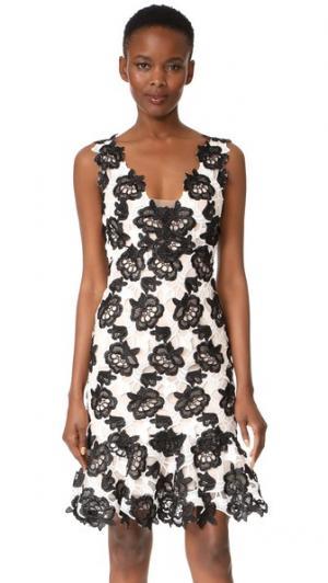 Платье без рукавов с оборками Monique Lhuillier. Цвет: белый шелк/черный