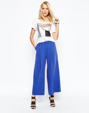 2nd Day Укороченные брюки с широкими штанинами. Цвет: синий