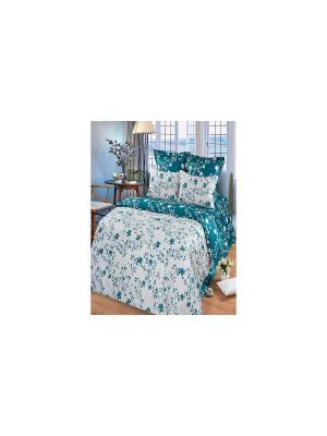 Комплект постельного белья из тк.Сатин в подарочной упаковке Изумруд Арт Постель. Цвет: белый, бирюзовый