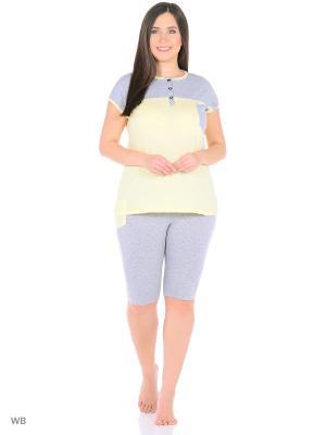 Домашний костюм HomeLike. Цвет: серый, желтый