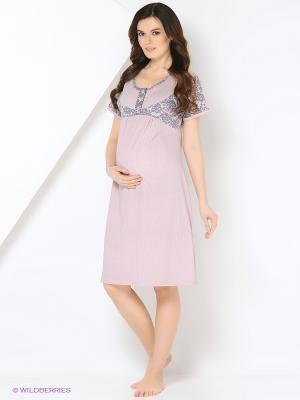 Ночная сорочка для беременных и кормления 40 недель. Цвет: бледно-розовый, розовый