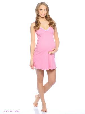 Ночная сорочка для беременный и кормящих Hunny Mammy. Цвет: розовый