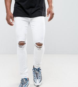 Jaded London Белые обтягивающие джинсы с дырками на коленях. Цвет: белый