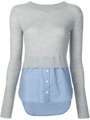 Джемпер с подолом от рубашки Veronica Beard. Цвет: серый