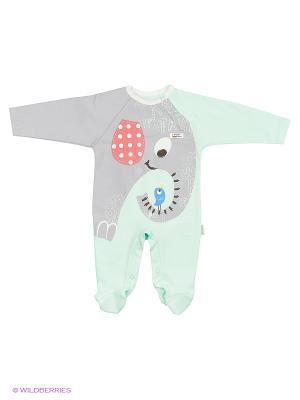 Комбинезон для малышей WO&GO. Цвет: морская волна, серый меланж
