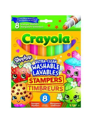 Фломастеры штампики Шопкинс 8 штук Crayola. Цвет: желтый