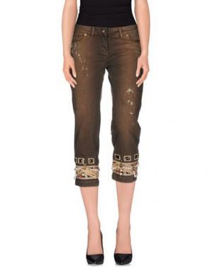Джинсовые брюки-капри LUPATTELLI. Цвет: темно-коричневый