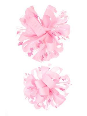 Банты из ленты на резинке в сердечко-бантик, светло-розовый, набор 2 шт Радужки. Цвет: бледно-розовый