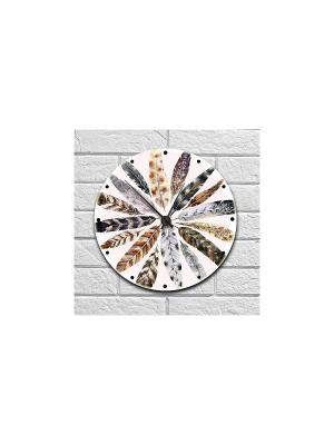 Часы настенные Magic feather Kawaii Factory. Цвет: белый, серый, коричневый, рыжий