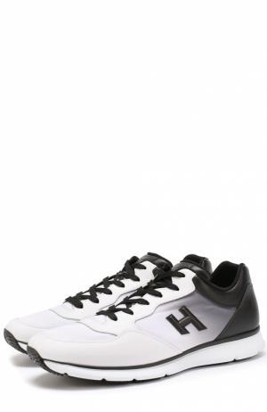 Кожаные кроссовки на шнуровке с эффектом деграде Hogan. Цвет: черно-белый