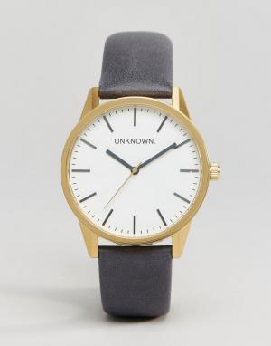 UNKNOWN Часы с темно-синим кожаным ремешком Classic. Цвет: синий
