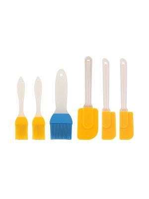 Набор кисточек и лопаток Elan Gallery. Цвет: желтый, голубой