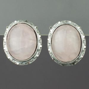 Серьги княжна розовый кварц Бусики-Колечки