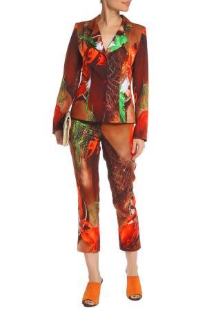 Костюм: жакет, брюки Adzhedo. Цвет: терракотовый, принт раки