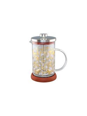 Чайник с поршнем Viva - DeLuxe Русские узоры Elan Gallery. Цвет: прозрачный, коричневый