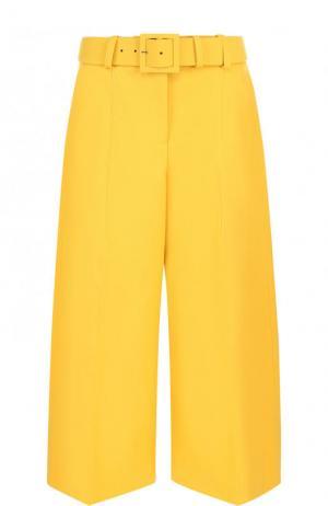 Укороченные шерстяные брюки с ремнем Oscar de la Renta. Цвет: желтый