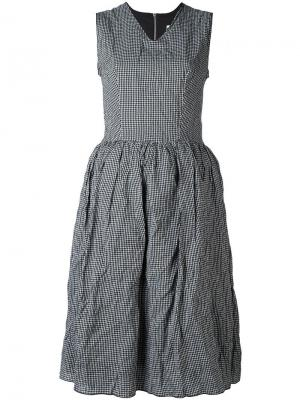 Расклешенное платье в клетку гингем Hache. Цвет: чёрный