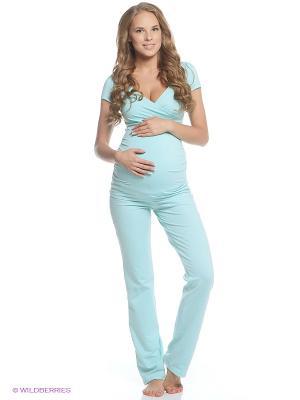 Пижама для беременных и кормящих Hunny Mammy. Цвет: бирюзовый