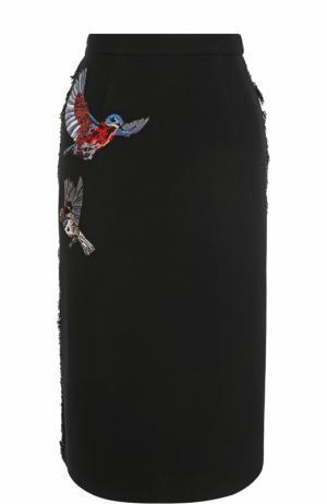 Шерстяная юбка-миди с вышивкой Markus Lupfer. Цвет: черный