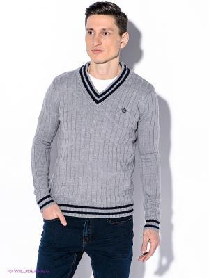 Пуловер Oodji. Цвет: серый, темно-синий
