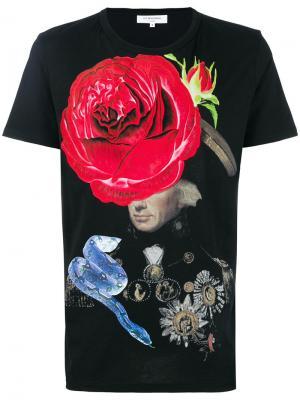 Футболка с принтом розы Les Benjamins. Цвет: чёрный
