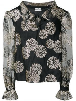 Блузка с узором из цветов Co. Цвет: чёрный