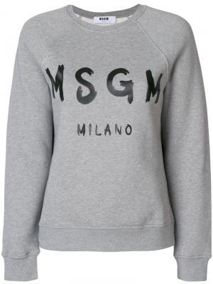 Толстовка с принтом логотипом MSGM. Цвет: серый