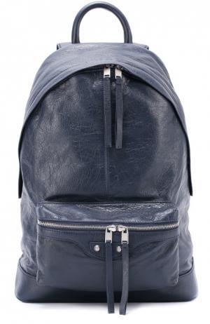 Кожаный рюкзак Classic Balenciaga. Цвет: темно-синий