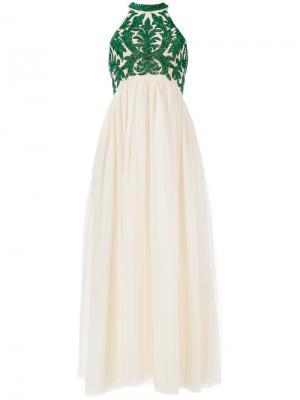 Тюлевое платье Colby с пайетками Ganni. Цвет: телесный