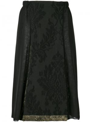 Юбка с цветочным принтом Stefano Mortari. Цвет: чёрный