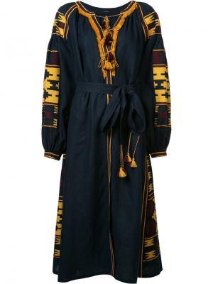 Платье с поясом и кисточками Vita Kin. Цвет: синий