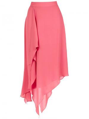 Silk midi skirt Giuliana Romanno. Цвет: розовый и фиолетовый