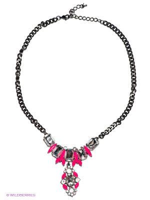 Колье Milana Style. Цвет: антрацитовый, серебристый, розовый