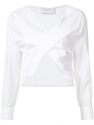 Ruched cropped blouse Esteban Cortazar. Цвет: белый