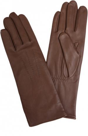 Кожаные перчатки Agnelle. Цвет: темно-коричневый