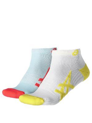 Носки ASICS. Цвет: желтый, белый, розовый