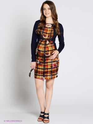 Платье UNIOSTAR. Цвет: темно-синий, оранжевый, бежевый