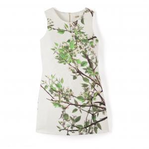 Платье прямое без рукавов с рисунком листья MOLLY BRACKEN. Цвет: цветочный рисунок